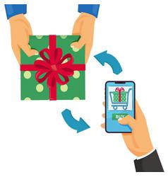 online shopping concept mobile shopping man vector image
