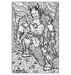 orc troll or goblin engraved fantasy vector image