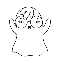Outline funny ghost character wearing glasses vector