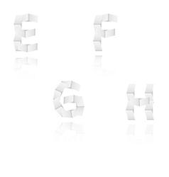Paper alphabet letters font E F G H vector