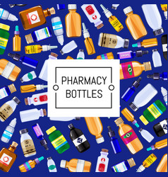 pharmacy medicine bottles set background vector image