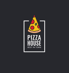 Pizza logo with pizza slice on black background vector