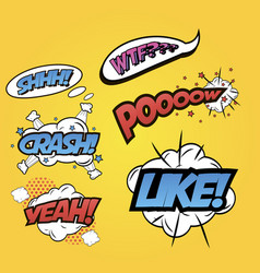 Pop art word inscriptions set isolated on yellow vector
