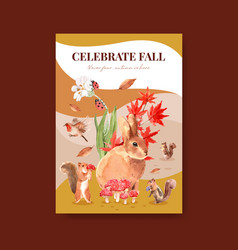 Poster template with autumn forest and animals vector