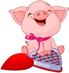 Pretty pig at valentines day vector
