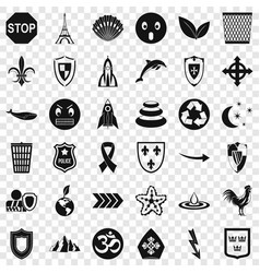 Protection emblem icons set simple style vector