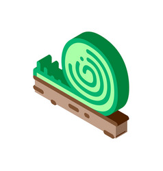 Rolled artificial turf isometric icon vector