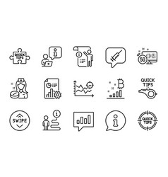 science icons set included icon as bitcoin graph vector image