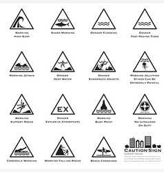 Sea And Beach Caution And Warning Sign Icons Set vector