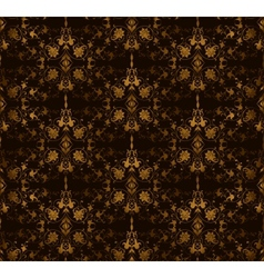 Seamless floral on a brown background vector image vector image