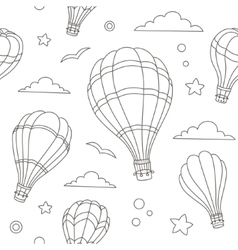 seamless pattern hot air balloons on sky vector image