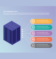 server data center collection with isometric vector image