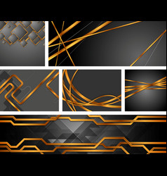 set bronze tech and wavy backgrounds vector image
