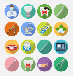 Set dental services icons vector