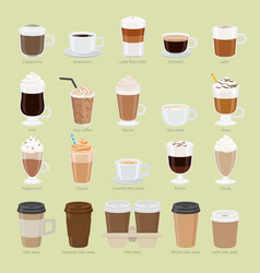 Set of coffee types and packages coffee menu vector
