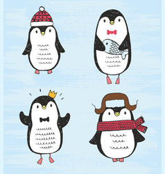 Set of four cute different sketch penguins vector