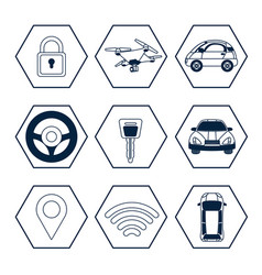 set of gps tracking icons vector image