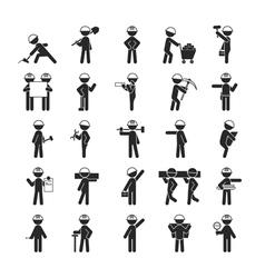 Set of Industrial contractors workers people vector image