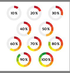 set of ten color percentage indicators vector image