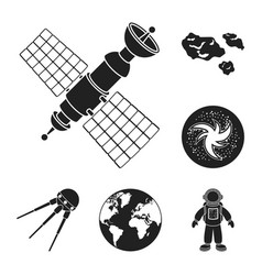 Space technology black icons in set collection for vector
