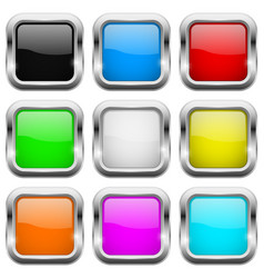 square buttons glass colored icons with chrome vector image