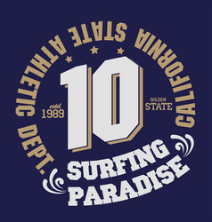 surfing t-shirt graphic print design california vector image