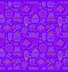 Sweet food seamless pattern with flat line icons vector