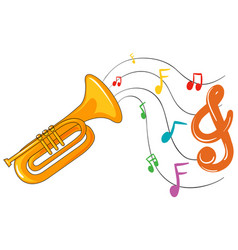 Trumpet with music notes in background vector