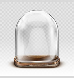 vintage glass dome and wooden tray realistic vector image