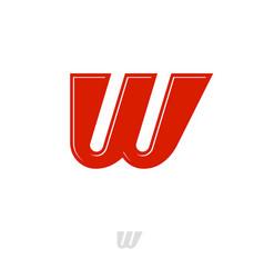 w monogram red web network digital business vector image