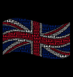 waving british flag collage of sale text items vector image
