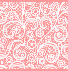 white lace seamless pattern with flowers vintage vector image