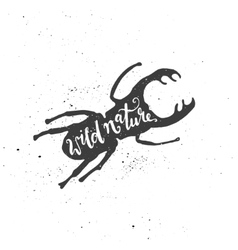Wild nature lettering in stag beetle vector