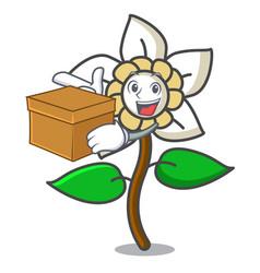 with box jasmine flower character cartoon vector image