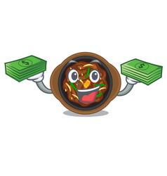 With money bag bulgogi in a cartoon shape vector