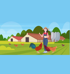 woman farmer feeding chicken and rooster free vector image