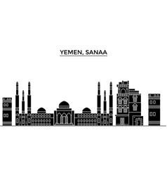 Yemen sanaa architecture city skyline vector