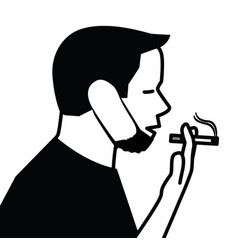 young male with protective face mask smoking vector image