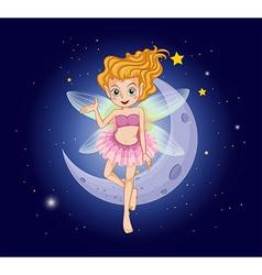 A fairy with a pink dress near the moon vector