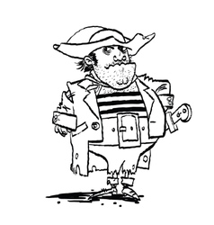 Funny pirate captain vector image vector image