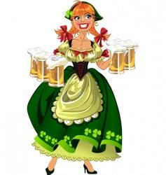 leprechaun girl with beer vector image vector image