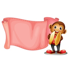 A pink empty banner with a monkey vector image vector image