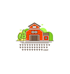 farm barn line icon with germinating field with vector image vector image