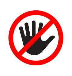 no entry sign icon with a crossed-out hand vector image