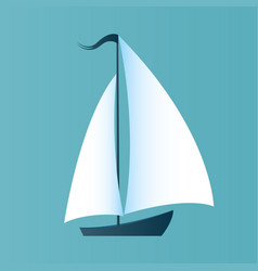 a boat with white sails design for a travel vector image vector image