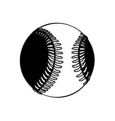 black silhouette baseball ball element sport vector image