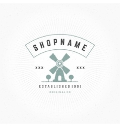 Mill Logo Design Element in Vintage Style for vector image vector image