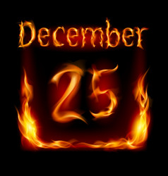 twenty-fifth december in calendar of fire icon on vector image vector image