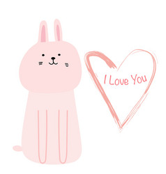 cute bunny with i love you typography card vector image