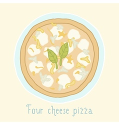 Four cheese pizza vector